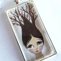 Girl, tree flowers. Silver, glass, chain, original art pendant