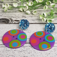Purple Spot Button Dangle Earrings - Acrylic - Glitter