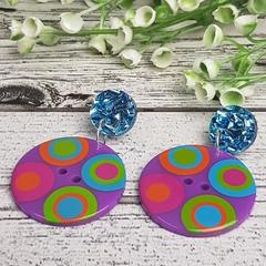 Purple Spot Button Dangle Earrings - Acrylic - Glitter