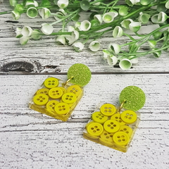 Lime Spider Teeny Tiny Buttons in Resin - Square Stud Dangle earrings