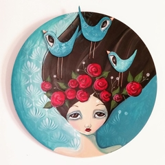 Helena, original painting, 70cm huge wood canvas , girl, turquoise roses