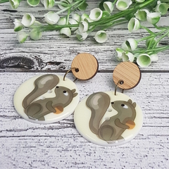 Squirrel Button Dangle Earrings - Acrylic - Glitter
