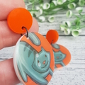 Orange Grey Cat Button Dangle Earrings - Acrylic