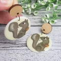 Squirrel Button Dangle Earrings - Acrylic - Glitter