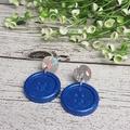 Confetti sparkle and blue button - Button Stud - Dangle earrings