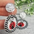 Lady Bug Beetle Button Dangle Earrings - Acrylic