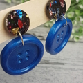 Confetti sparkle and blue button - Button Stud - Dangle earrings
