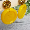 Gold Glitter and Yellow Bloom - Button Stud - Dangle earrings