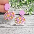 Spots in Pinks - Button Dangle Earrings - Acrylic