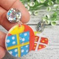 Present Time Button Dangle Earrings - Acrylic