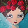 Helena, original painting, 70cm huge wood canvas , girl, turquoise roses
