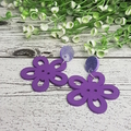 Purple Flower Button Dangle Earrings - Acrylic - Glitter