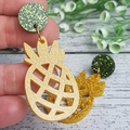 Pineapple Button Dangle Earrings - Acrylic - Glitter