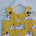 Unisex short overalls, easy to layer, drill fabric, rabbits