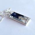 Girl, stars and the moon pendant. Silver, glass, chain, original art