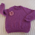 SIZE 2-3 - Hand knitted jumper in purple with silver metallic thread