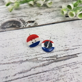Red White Blue Stripes - Button - Stud Earrings
