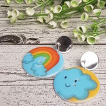 Rainbow and Clouds -Mirror - Button Dangle Earrings - Acrylic