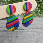 Rainbow Connection - Oval Stripes - Handcrafted polymer clay dangle earrings