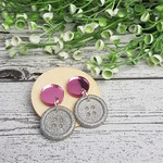 Pink Mirror and Silver Sparkle - Button Stud - Dangle earrings