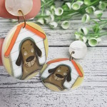 Dog house Button Dangle Earrings - Acrylic