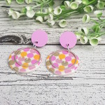 Spots in Pinks - Button Dangle Earrings - Acrylic