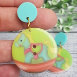 Rocking Horse Pastel Button Dangle Earrings - Acrylic - Glitter