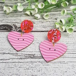 Oh my beating heart - Pink Glitter - Button Dangle Earrings - Acrylic