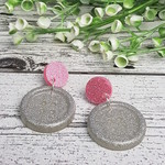 Pink and Silver Sparkle - Button Stud - Dangle earrings