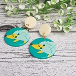 Echidna Button Dangle Earrings - Acrylic