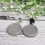 Silver Mirror and Silver Sparkle - Button Stud - Dangle earrings