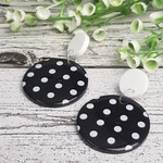 Black and White Spots - Button Dangle Earrings - Acrylic