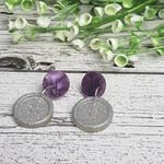 Purple Swirl and Silver Sparkle - Button Stud - Dangle earrings