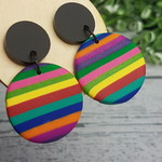 Stripes - Rainbow - circle - Handcrafted polymer clay dangle earrings