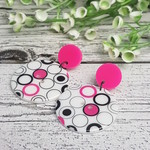 Hot Pink Bubbles - Button Dangle Earrings - Acrylic