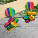 Rainbow Connection - Flower Stripes - Handcrafted polymer clay dangle earrings