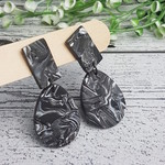 Marble Slate - Oval - Handcrafted polymer clay dangle earrings