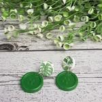 Green Leaf  - Stud - Dangle earrings