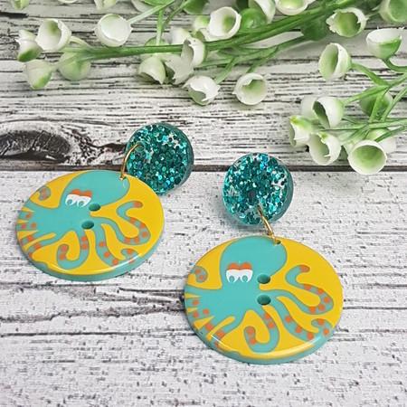 Octopus Sparkle Button Dangle Earrings - Acrylic