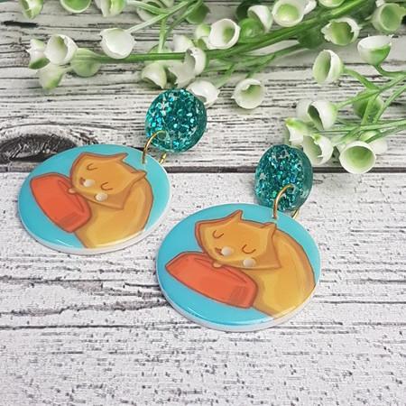Sleepy Cat Button Dangle Earrings - Acrylic
