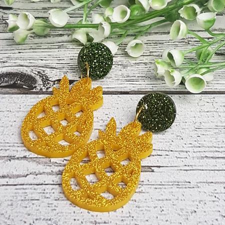 Pineapple Button Dangle Earrings - Acrylic - Glitter