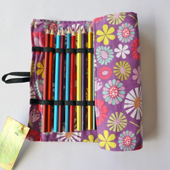 Large Pencil Roll - Holds 24 pencils (included) - retro purple daisy, flower
