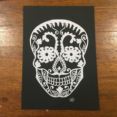 """White Sugar Skull"" - Paper Cut Art Halloween"