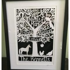 "*Made To Order*. Custom  Family Tree Shadow Box"" - PaperCut Art"
