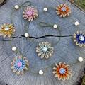 Jute Twine Paper Raffia Flower Garland Wall Hanging Decor Rustic Button Natural