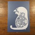 """Floral Kitty"" - Paper Cut Art"