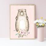 A4 Print -  Woodland Bear Nursery Art Print, Pink Birch Child's bedroom