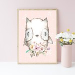A4 Print -  Woodland Owl Nursery Art Print, Pink Birch Child's bedroom