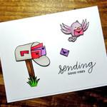 Handmade 'Sending Good Vibes' Letter Bird Card