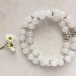 White Jade Gemstone & Tibetan Bead Bracelet Set